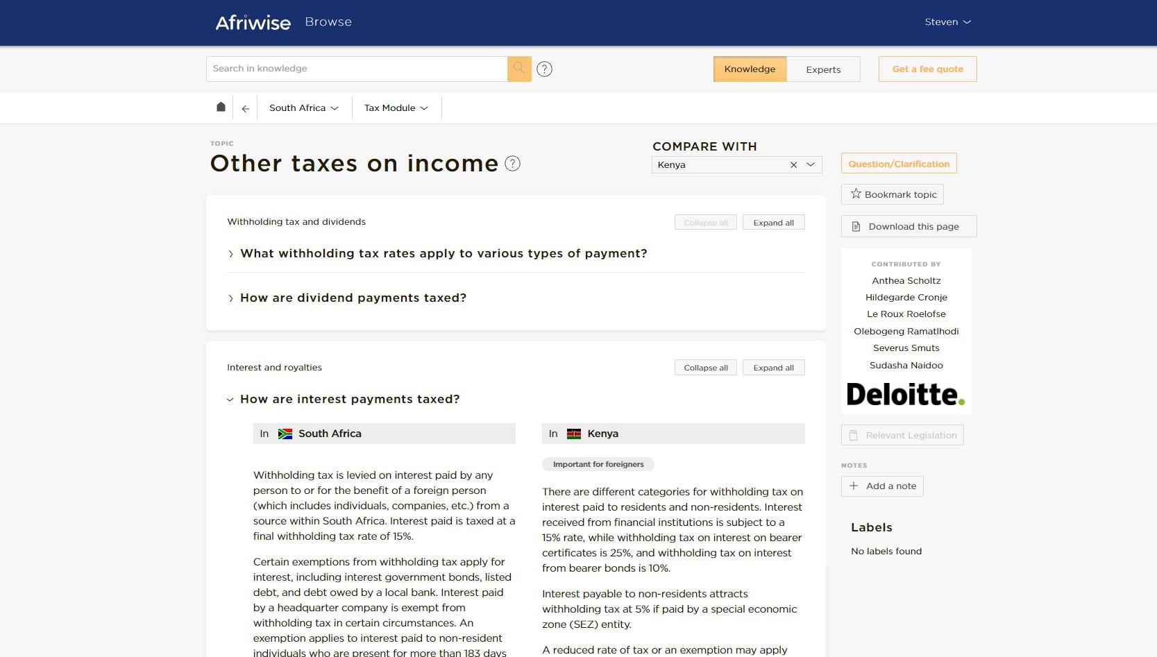 Afriwise Deloitte Tax Solution Screenshot